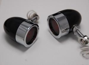 Bullet Lights, LED, Small Flat Bezel, Black and Chrome Body, Amber Lens
