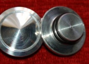 Front Axle Plugs, Disc Push in Axle Cap Polished