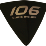 106 Cubic Inch Right Side Wedge Badge - Solid Aluminum with 3M Double Sided Tape - Black Background with Silver Lettering