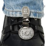 The patented Original Ryder Clips boot stirrup boot clips are designed to fit your stirrup boots. Simply clip the stirrup boot clip to the stirrup or strap of your boot, then clip to the cuff of your pants. We've designed this with function, style and safety for the motorcycle rider. Laced boot stirrup boot clips come in many different designs that match men's and women's personal style to look cool on their bikes.