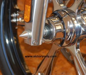 VICTORY MOTORCYCLE SPIKE AXLE CAP VICTORY ONLY MOTORCYCLE JACKPOT HAMMER KINGPIN VEGAS NESS CHROME BLACK POLISHED BILLET ALUMINUM