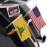 Includes 6'' x 9'' American Flag Black mount easily connects to either of the lower rear saddlebag brackets, allowing riders to choose which side to mount to, or get a pair and mount to both sides Popular 12'' flag pole with custom attachment for the Victory