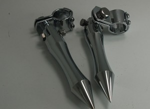 CHROME SMOOTH BILLET ALUMINUM PEGS WITH HIGHWAY BAR MOUNT