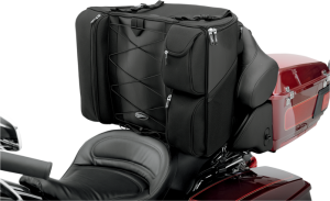 "Designed to fit perfectly between the rider and Tourpack on the back seat of all Dresser models Fully rigid; can be leaned against, even when empty Full-size top opening for easy packing Top carry handle and backpack straps for easy toting Top accessory straps allow you to add on a Saddlemen roll bag, extra jacket, etc. Extra side mesh pouches perfect for maps Constructed of UV-, water- and weather-resistant 1200-denier SaddleTuff™ and leather-like SaddleHyde™ panels Insulated side cooler pouches; adjustable bungee net Dimensions: 21"" W x 18.5"" H x 19"" D; measures 4,100 cubic inches"