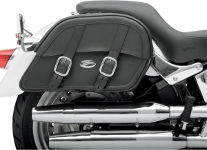 "Clean-styled saddlebags available in Throw-Over or Custom-Fit mounting Throw-Over style includes a multi-adjustable yoke which hangs the bags from the fender or seat; also includes a quick-release bag connection to take off bags without disturbing the yoke or seat and a rear-mounted carry handle Custom-Fit style has a strong, smooth backside and no yoke, designed to allow custom mounting to your motorcycle Made of a durable combination of materials including genuine leather, weather-resistant SaddleHyde™, chrome-plated brass and tough plastic frame All feature 1 1/2"" chrome-plated buckles and genuine leather straps with lockable, quick-release hidden buckles Extra-strong plastic back works perfectly with the S4 Quick-Disconnect Mounting System S4 saddlebag support brackets (sold separately) are strongly recommended"