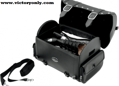 """Sleek-styled tail bag featuring straps, studs and large chromed buckles Lockable, quick-release buckles hidden below large chrome buckles Made of rugged leather-grain Saddlehyde™ with plastic reinforced panels Rigid construction keeps these bags looking good, full or empty Designed for multiple mounting options adaptable to any bike; attaches to sissy bar, rack or atop passenger seat Easy-to-use sissy bar strap included, adjustable bungee straps sold separately; multiple anchor points, including four heavy-duty chromed D-rings and several strap slots provided for fast, easy mounting Riveted top handle and removable shoulder strap for convenient transport off the bike Hat-box style lid with long sides for protection against weather, grime and other elements Easy-open lid provides convenient access Two zippered and flap-covered side pockets provide extra storage Hanging internal mesh pocket provides separate storage inside bag and helps organize contents Measures 16"""" L x 101/4"""" W x 121/2"""" H: 19"""" L with pockets"""