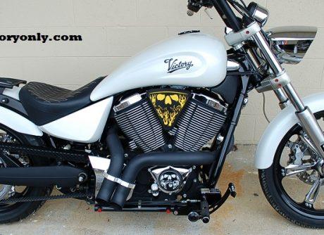 3d skull wedge Installed Victory Motorcycle Black base yellow Backer Black Artwork