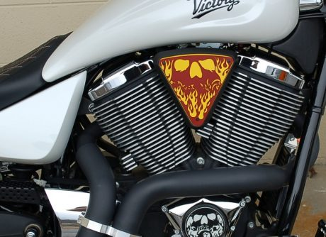 3d skull wedge Installed Victory Motorcycle Black base Yellow Backer Red Artwork