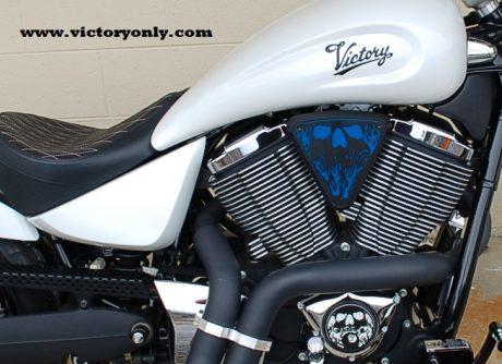 3d skull wedge Installed Victory Motorcycle Black base Blue Backer Black Artwork