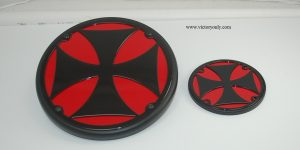 iron cross engine cover victory motorcycycle red chrome black