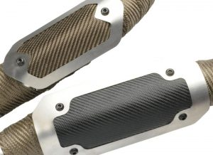 DEI has expanded its award winning Flexible Heat Shields to include additional sizes and premium finishes. The upgraded construction builds on the strengths of existing DEI Shields, but adds more rigidity with a cleaner look. Being flexible, these shields can be adjusted to fit a range of diameters. They work great as OEM replacements, over exhaust wrap, or even doubling up existing metal heat shields for the ultimate protection. Each shield uses our reliable stainless standoff bracket and includes mounting hardware for easy installation. They are currently available in either Titanium Series™ (bronze color) ONYX Series™ (black) finish. In addition, the stainless trim plate can be polished or powder coated to match individual tastes. These shields look the part on any motorcycle from cruisers to sport bikes. So if you are tired of burning your legs every time you stop in traffic, step out of the ordinary give our heat shield a try.