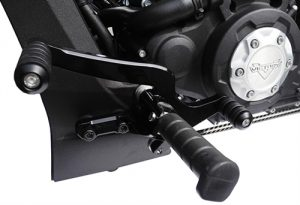 Replace your stock toe shifter with our CNC machined billet heel/toe shift lever. Comes complete with 3 of our Comfort Shift Pegs, including the brake side. Works with stock foot pegs or with our CI-2020 Rider Boards.