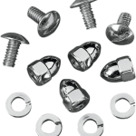 Each set includes four bolts, complete with custom acorn nuts Excellent for mounting license plates onto motorcycles Made in the U.S.A.