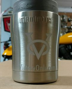 victory only white logo stainless cup bottle or can cooler
