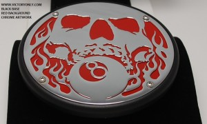 Engine Cover Skull and 8Ball 8 ball custom part chrome black victory motorcycle cross roads country vegas kingpin