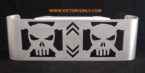 victory motorcycle oil cooler cover skull raw design