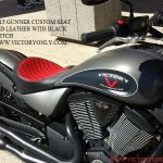 VictORY 2015 Gunner CUSTOM SEAT DIAMOND STITCH RED LEATHER FITS GUNNER VEGAS HIGHBALL KINGPIN SOLO SEAT