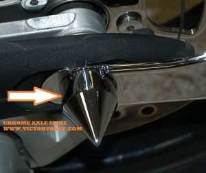 axle cap chrome mounted with tag INSTALLED Victory Motorcycle round or spike 27mm victory