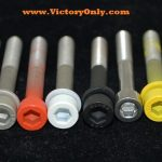 Steel Bolts Hand Sprayed with Ceramic Coat then baked on for a Strong Finish. Ceramic coating provides a hard heat resistant finish. The color will be the same on all your bolts. Steel Bolts that exceed factory OEM Specs. Yes you can torque to factory specs. No more huge service bills because you broke an aluminum bolt off! Red Bolts Candy Colored bolts to replace the ugly stock cam cover bolts on you Victory freedom engine. A very easy installation to dress up the motor. Simply remove 1 bolt at a time and replace with a new bolt.