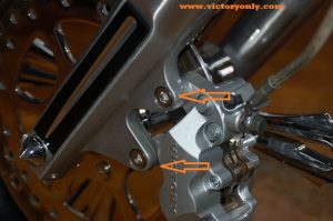 chrome brake caliper bolt installed victory motorcycle 001