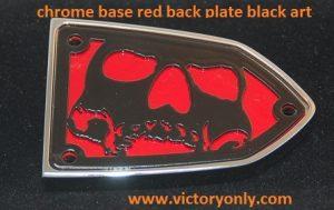 chrome base red backing black art