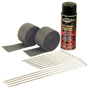 """A simple and effective way to control heat, protect against serious leg burns and improve performance. DEI Pipe wrap kits contain everything needed to wrap a set of pipes on most V-Twin Motorcycles all in one convenient package. Each kit includes two 2"""" x 15 foot rolls of Black exhaust wrap, eight 8"""" & four 14"""" stainless steel Locking Ties to secure wrap and Black HT Silicone Coating spray that penetrates, seals, protects and preserves wrap. A proprietary coating is applied to all DEI wrap to act as a bonding agent and to increase durability levels under extreme heat."""