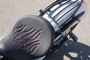 Red Flame Stitching on Solo Seat Installed Victory Motorcycle