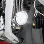 """For true fog light performance, Big Bike Parts® now makes a satin black mounting bracket for the Victory forged bars, allowing the placement of their fog lights low where they need to be. With over 140,000 fog lights on the road, Big Bike Parts®leads the motorcycle industry in knowing how to deliver fog lights. These SAE compliant fog lights are great to increase visibility of swales during fog or at low light times. These 3 ½'' lights have a custom designed visor as part of the bezel,each contains two high output, high intensity LEDs for the best in illumination. For Victory Cross Roads, Cross Country, Hardball and Magnum forged bars 2010 and newer. 3 1/2"""" LED FOG LIGHT KIT, For Forged Bars, For Victory Cross Country, Tour, & Magnum 2010-Newer"""