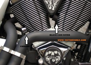 Cam Tensioner Adjuster Covers Victory Motorcycle Cam Tensioner Adjuster from 2002 to 2017. Note picture with arrows shows stock cam adjustor and not item selling. Selling is set of 2 with fins to match motor. Custom Accessory Covers fit Victory Boardwalk, Victory Hammer, Victory Judge, Victory Kingpin, Victory Cross Roads, Victory Vegas, Victory 8Ball, Victory Jackpot, Victory Highball, Victory Judge, Victory Gunner, Victory Hardball and all Victory Freedom motors 100 cu or 106 cu with those bare ugly came chain adjusters. These are made in the USA with t6061 billet aluminum and matches the Victory Freedom motors. This is a must have and is also available in black. Victory only has these Black Anodized for a great look and long lasting finish. Fits all Victory Freedom Motors Held On With A Set Screw so installs fast Sold As A Pair!