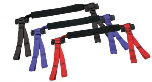 """Patented and designed for safely transporting motorcycles, ATVs, and scooters. Adjustable grip covering adjusts to the grip size and eliminates grip damage One size fits all adjustable handle bar cross-strap adjusts from 22""""-34"""" Handlebar cross strap can be adjusted to fit in the best position to avoid damage to gauges, cables, start, headlight, horn buttons and clutch and brake levers. The unique 4 hold down points provide full forward, backward and side to side support, which does not allow for play or rocking motion to occur under whipping motions of a trailer. Can be used on flat bed trailer with no side rails due to the unique 4 point ties. No tire chocks required (although they recommended for added security)"""