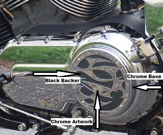 Engine Cover Tribal chrome base black backer Victory parts accessories