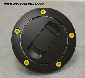 CANDY STEEL YELLOW BOLTS VICTORY MOTORCYCLE GAS TANK LID