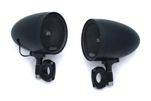 """Kuryakyn RoadThunder Speaker Pods by MTX bring the noise, with peak power rated at 100W. Includes a set of 1"""" bar mounting clamps"""