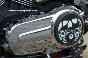 steel bolts candy blue victory motorcycle cam cover derby cover Vegas, Hammer, Jackpot, Kingpin, Cross Country, Cross Roads, Kingpin Judge, Gunner, Highball, Boardwalk