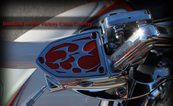 Victory Reservoir Cover Red Chrome Tribal Clutch or Brake Side