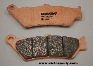 All Braking® brake pads are asbestos- and nickel-free Other brake companies stress friction over other performance factors - Braking uses an organic base material for outstanding friction along with a soft, non-aggressive metal that allows the pad to glide on the disc, providing better control All Braking brake pads are compatible with cast iron, stainless steel and Carbiron® materials and, when used with Braking rotors, provide the greatest control and braking power available SM1 COMPOUND Best performance at lower temperatures Semi-metallic compound - great OE replacement-type pad Offers an aggressive response and is easily identified by the black backing plate FRONT CM55 COMPOUND Offers a powerful initial bite and also a longer pad life Good pad choice for all types of street sport riding conditions Universal, sintered metal compound that is a great OEM upgrade CM66 COMPOUND Provides a very aggressive initial bite combined with a positive lever feeling Unique Braking semi-metallic compound formulated for the most demanding street riding and/or racing conditions Best performance obtained in higher temperatures