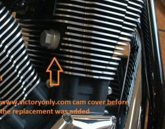 Cam Tensioner Adjuster Covers Victory Motorcycle Cam Tensioner Adjuster from 2002 to 2014. Note picture with arrows shows stock cam adjustor and not item selling. Selling is set of 2 with fins to match motor. Custom Accessory Covers fit Victory Boardwalk, Victory Hammer, Victory Judge, Victory Kingpin, Victory Cross Roads, Victory Vegas, Victory 8Ball, Victory Jackpot, Victory Highball, Victory Judge, Victory Gunner, Victory Hardball and all Victory Freedom motors 100 cu or 106 cu with those bare ugly came chain adjustors. These are made in the USA with t6061 billet aluminum and matches the Victory Freedom motors. This is a must have and is also available in black. Victory only has these Black Anodized for a great look and long lasting finish. Fits all Victory Freedom MotorsHeld On With A Set Screw so installs fast Sold As A Pair! Picture below shows the single cam bolt before cover is installed so you can match it up with your Victory Motorcycle