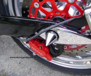 AXLE CAP REAR SPIKE CHROME CUSTOM BOLT CAP VICTORY MOTORCYCLE TEAR DROP HAMMER STYLE MOUNT